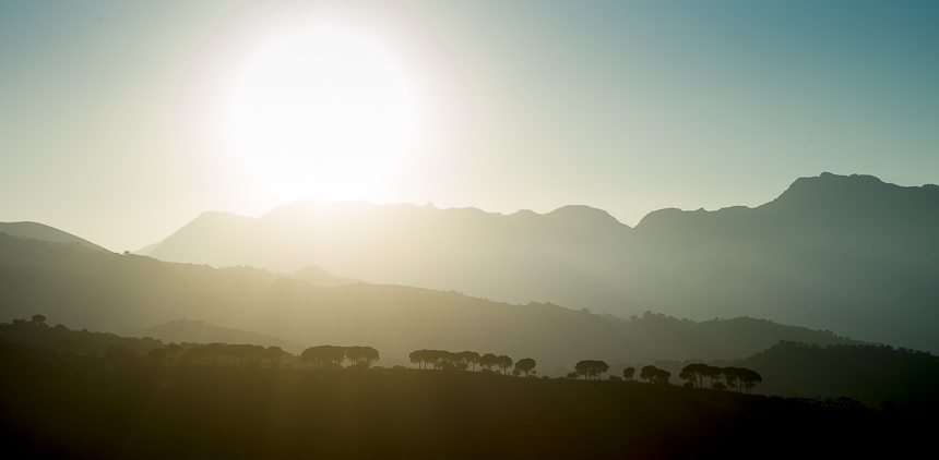 Sunset in Ronda, Andalucia (Spain). Shot against the sun, still razor sharp.