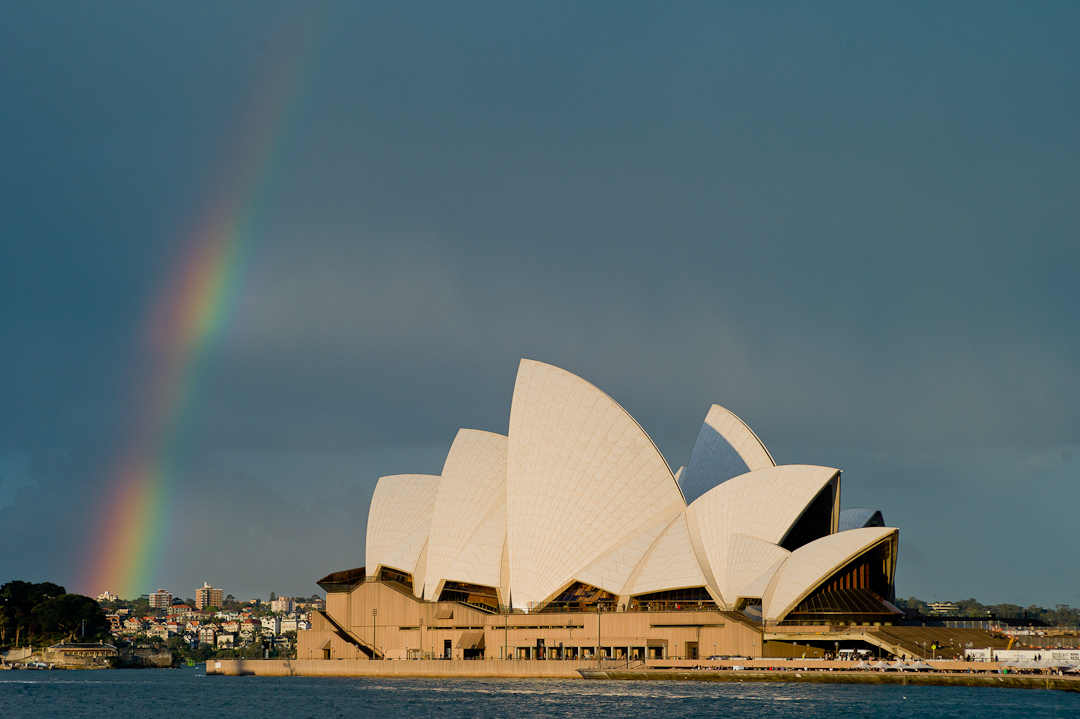 A rare sight: a rainbow above the Opera House in Sidney