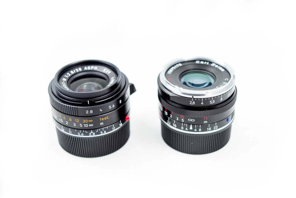 The 35/2.8 is about the same size as the Leica 28 Elmarit.