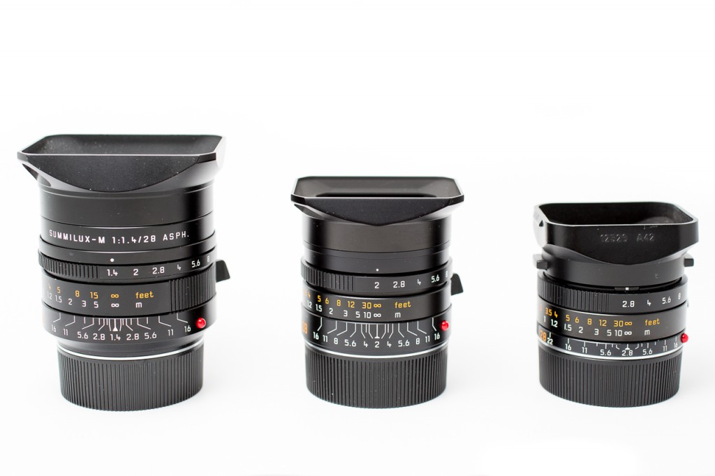 A comparison with its smaller brothers. The Leica 28 Summilux is definitely small enough for a lot of photographic fun.