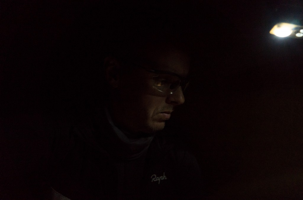 And a self portrait after two hard days of cycling, shot at 800 ISO at 1/13th of a second. I actually quite like it.