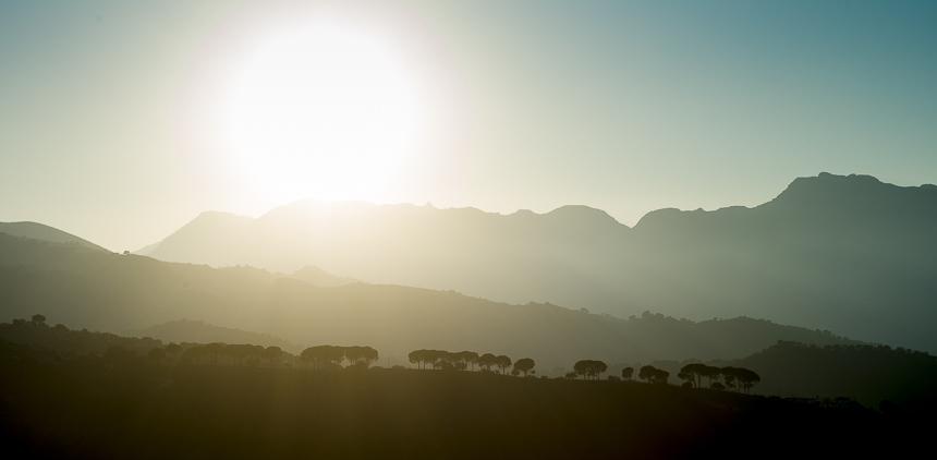 Sunset in Ronda, Andalucia (Spain). Shot against the sun, still razor sharp.