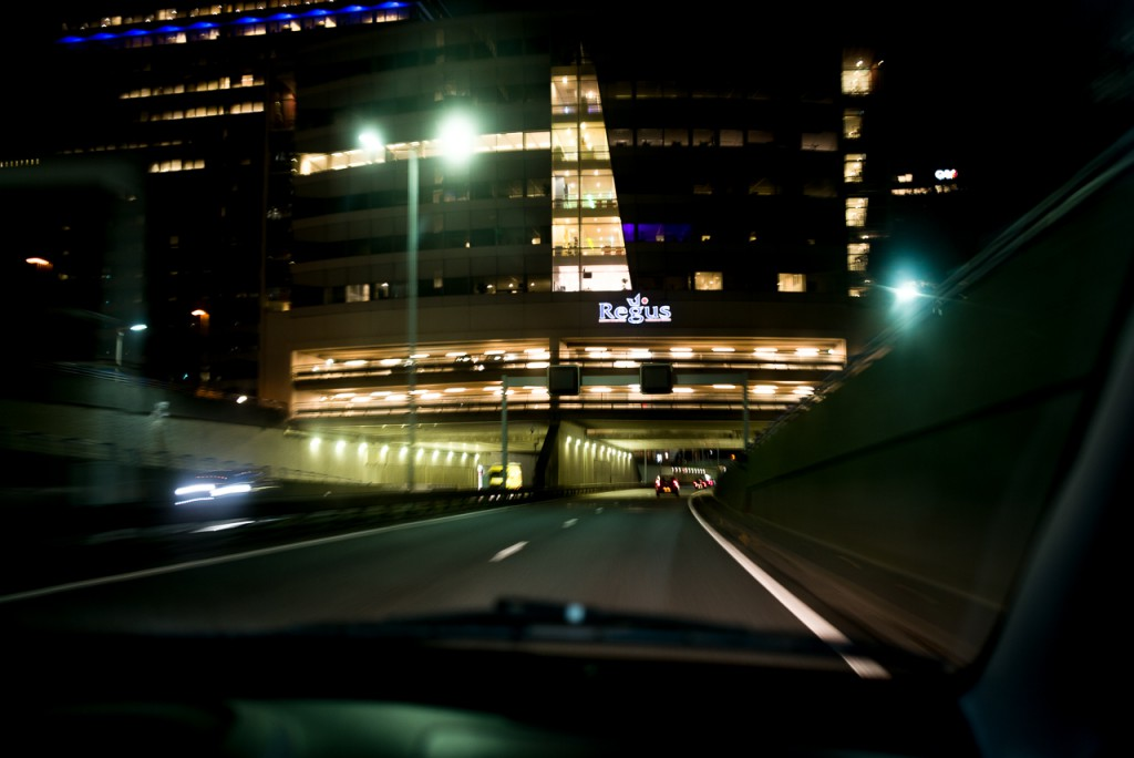 Night shooting with a Summarit... from a moving car. Why not?