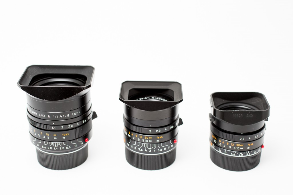 The three 28mm Leica lenses (the new Summaron not included)
