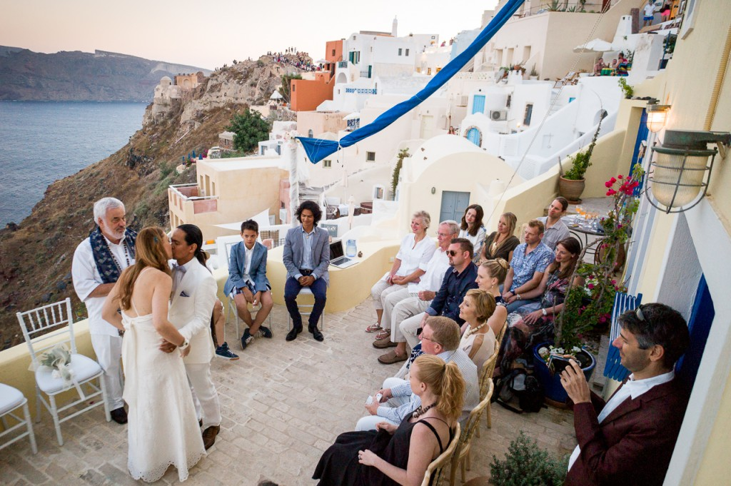 Here at a wedding in Santorini. Here's where the M system shines. I stayed three days, but only brought carry-on luggage.