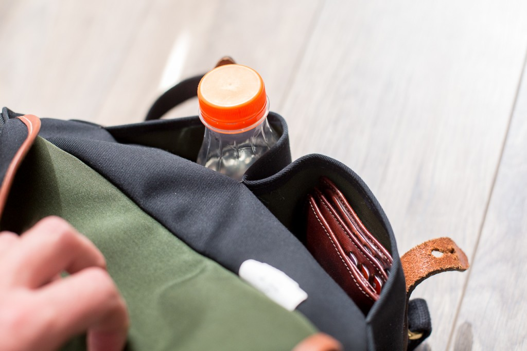 The front pockets fit a small bottle of water and your wallet.