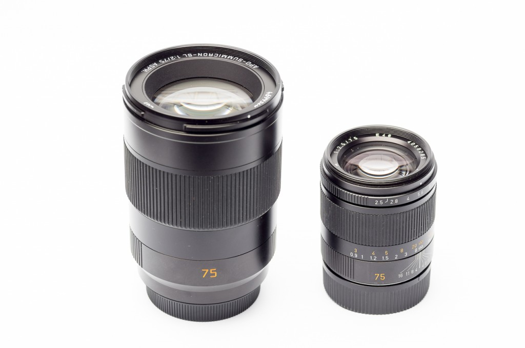 Here a quick size comparison with the 75/2.5. All product shots have been taken with the Leica T and the 60 R Macro.